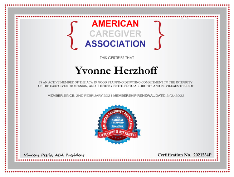 American Caregiver Association Certificate - Yvonne Herzhoff